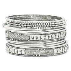 Bold Elements™ 14-pc. Silver-Tone Bangle Bracelet Set