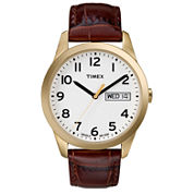 Timex® Easy Reader Mens Brown Leather Watch