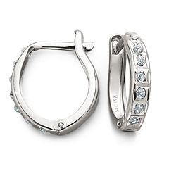 Diamond-Accent 14K White Gold Diamond Fascination™ Hoops