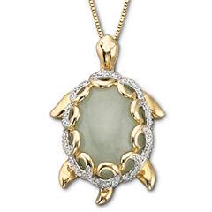 Jade Turtle Pendant Necklace 14K/Sterling Silver