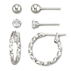Childrens 3-Pr. Earring Set Sterling Silver