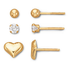 Child's 14K Ball, Cubic Zirconia & Heart Stud Set