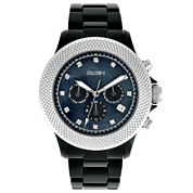 Elgin® Womens Black Crystal Chronograph Watch