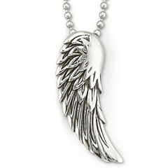Mens Winged Pendant Necklace Stainless Steel