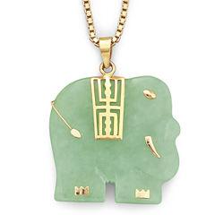 Genuine Jade Elephant Pendant Necklace 14K/Sterling Silver