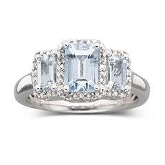 Genuine Aquamarine & Diamond Accent Ring