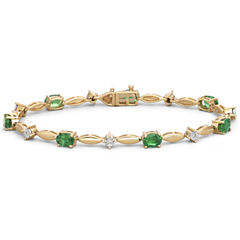 Lab-Created Emerald & Diamond-Accent Bracelet