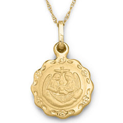 Childrens 14K Gold Baptism Pendant Necklace