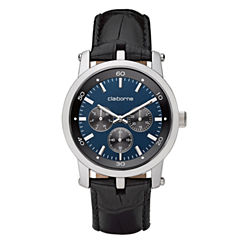 Claiborne Mens Black & Blue Multifunction Watch