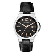 Claiborne Mens Black Leather Strap Watch