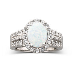 Lab Created Opal & White Sapphire Ring
