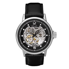 Relic® Mens Black Leather Skeleton Watch ZR77224