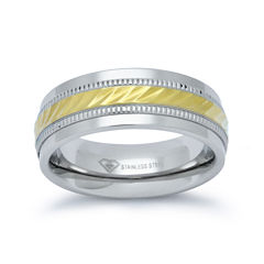Mens 8mm Wedding Band in Stainless Steel