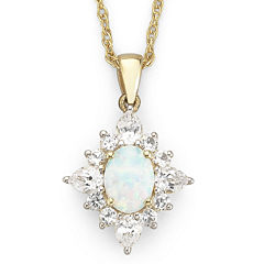 Lab Created Opal Pendant with Lab Created Sapphire Necklace
