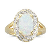 Lab-Created Opal Ring with Diamond Accents