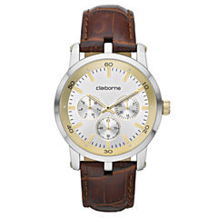 Claiborne Mens Multifunction Brown Leather Watch