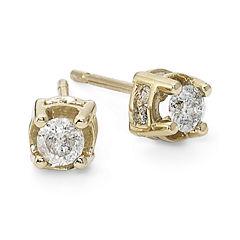 1/2 CT. T.W. Diamond Stud Earrings 10K Yellow Gold