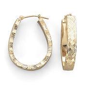 10K Gold Basket-Weave Hoop Earrings