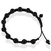 Mens Shamballa Black Stainless Steel Bead Bracelet