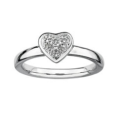 Personally Stackable Diamond-Accent Silver Heart Ring