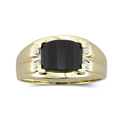 Mens Onyx & Diamond-Accent Ring