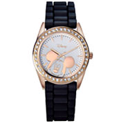 Disney Mickey Mouse Rose-Tone Black Strap Watch
