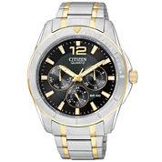 Citizen® Mens Black Dial Two-Tone Watch AG8304-51E