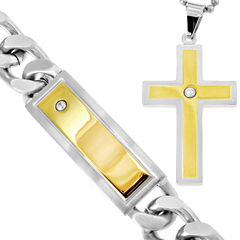 Stainless Steel & Cubic Zirconia Cross Pendant Necklace & Bracelet Set