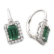 Lab-Created Emerald & White Sapphire Earrings