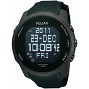 Pulsar® Mens Black Sports Digital Watch PQ2011