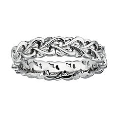 Personally Stackable Sterling Silver Intertwined Hearts Ring