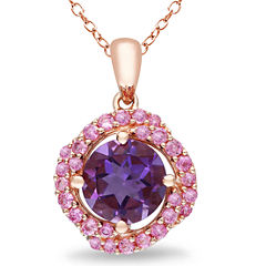 Genuine Amethyst and Pink Sapphire Pendant Necklace