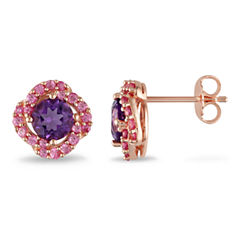 Genuine Amethyst & Pink Sapphire Earrings