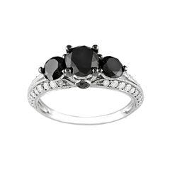 Midnight Black Diamond 2 CT. T.W. White & Color-Enhanced Black Diamond 10k White Gold 3-Stone Ring