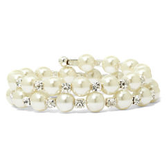 Vieste Silver-Tone Pearlized Glass Bead and Rhinestone Coil Bracelet