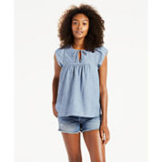 Levi's Short Sleeve Split Crew Neck Cotton Blouse