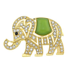 Monet® Crystal and Green Stone Elephant Pin