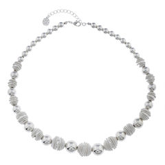 Monet® Silver-Tone Textured Bead Necklace