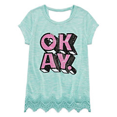 Total Girl Short Sleeve Sequin Crochet Hem Top - Girls' 7-16 and Plus