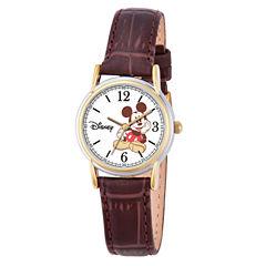 Disney Mickey Mouse Womens Brown Strap Watch-W000551