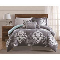 Style 212 Textured Damask 12-pc. Damask + Scroll Comforter Set