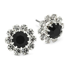 Vieste® Jet Black & Clear Crystal Flower Earrings