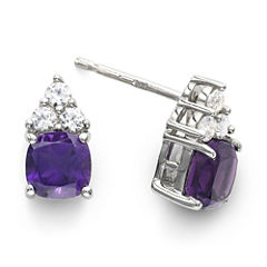 Genuine Amethyst & Lab-Created White Sapphire Sterling Silver Stud Earrings