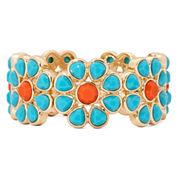 Liz Claiborne® Gold-Tone Aqua and Orange Stone Flower Stretch Bracelet