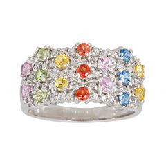 LIMITED QUANTITIES  Genuine Multicolor Sapphire  Sterling Silver Ring