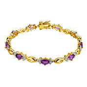 Genuine Amethyst and Diamond-Accent 18K Gold Over Silver Bracelet
