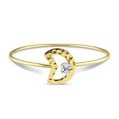 Genuine White Topaz Moon Bangle Bracelet