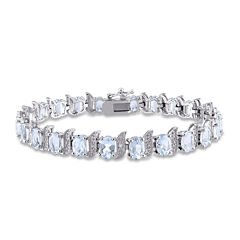 Genuine Aquamarine and Diamond-Accent Sterling Silver Bracelet