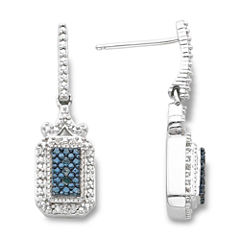 Sterling Silver 1/10 CT. T.W. White & Color-Enhanced Blue Diamond Earrings