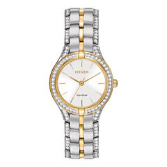 Citizen® Eco-Drive® Silhouette Womens Crystal-Accent Bracelet Watch FE2064-52A